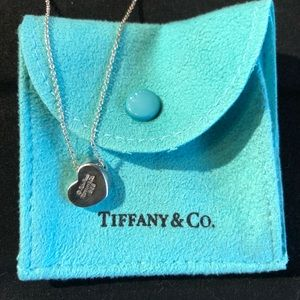 Tiffany Closed Heart with Diamond - Silver